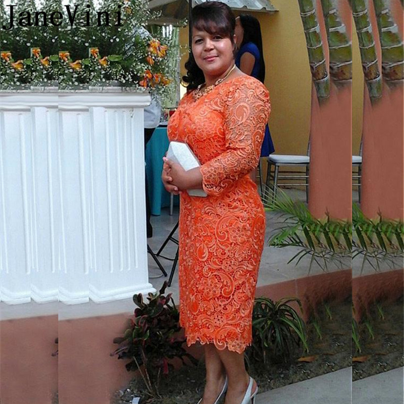 JaneVini 2019 Tea Length Lace Cocktail Dresses Plus Size 3/4 Sleeves Orange Tight Fitted Women Party Gowns Short Cocktail Jurk