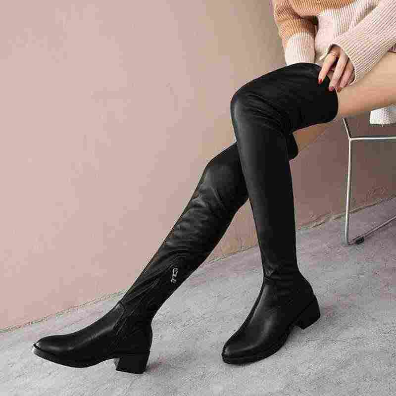 Krazing Pot 2019 inek deri çocuk süet kış streetwear kaya streç çizmeler med topuklu kare ayak kadın üstü diz botları L7f1