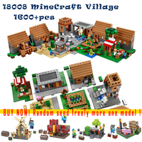 LEPIN 1600 Pcs Model Building Kits Compatible With Lego My Worlds MineCraft Village Blocks Educational Toys