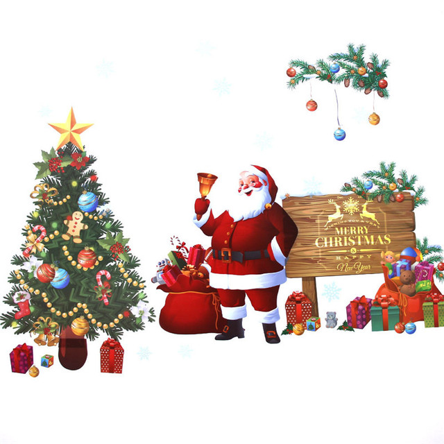 Merry Christmas Wall Stickers Santa Claus Gifts Tree Shop Window