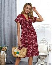 Summer Bohemian Beach Dress Women Bowknot V Neck Elegant High Waist Butterfly Sleeve Loose Dresses
