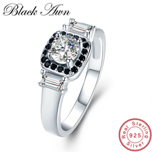 BLACK AWN 3 2g 925 Sterling Silver Fine Jewelry Wedding Rings for Women Black White