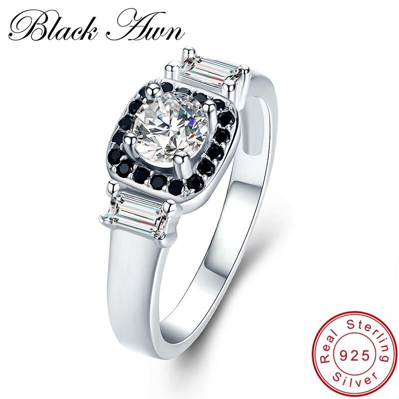 font b BLACK b font AWN 3 2g 925 Sterling Silver Fine Jewelry Wedding font