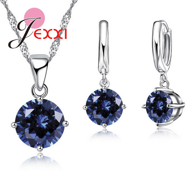 JEXXI 8 Colors Top Quality 925 Sterling Silver Wedding Jewelry Sets For Bridal CZ Crystal Charm Pendant Necklace Hoop Earrings