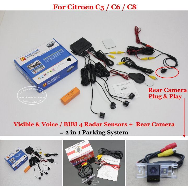 Liislee For Citroen C5 / C6 / C8 - Car Parking Sensors + Rear View Back Up Camera = 2 in 1 Visual / BIBI Alarm Parking System