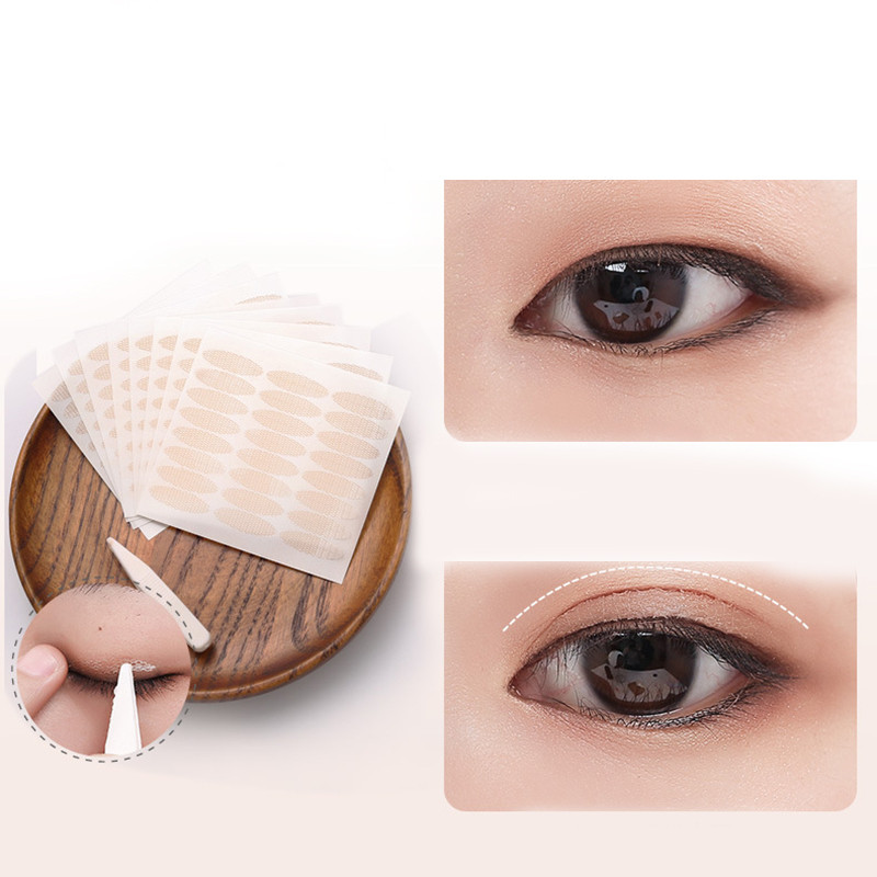 240pcs/5packs Gauze Mesh Lace  Invisible Double-fold Eyelid Sticker Transparent Invisible Self-adhesive Eyelid Tape Sticker