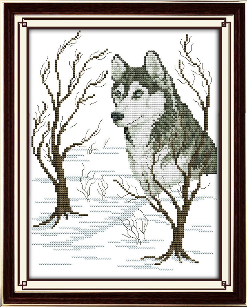 Sled dog Patterns Counted Cross Stitch 11CT 14CT Cross Stitch Set Wholesale Animals Cross-stitch Kits Embroidery Needlework