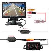 7 HD Mirror Monitor Car Wireless Backup Rear View Camera Parking Reverse Kit for Truck Trailer Vehicle Bus Van Pickup Camper