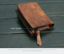 Vintage Genuine Leather Wallet men Purse leather men Wallet vertical short money bag male wallet credit card holder