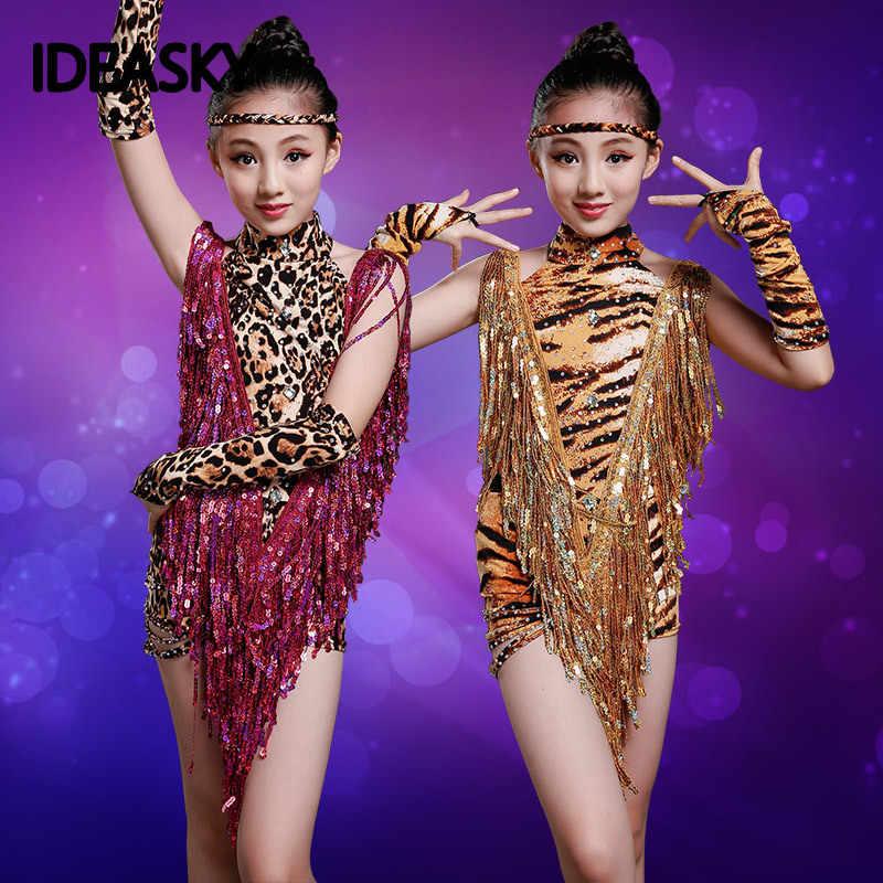Леопардовые костюмы трико детская Сексуальная юбка Детские латинские для девочек бахрома танец танцевальный зал состязание платья Танго Сальса Румба