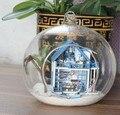 3 шт. Эгейского Моря дома отдыха миниатюрный кукольный домик стекло DIY мини домой стеклянный шар рука кукольный дом Со СВЕТОДИОДНЫМИ огнями оптовая
