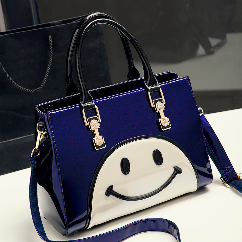 0824-01 Europe and America New Fashion Fashion smiling Women shoulder bag Leather Ladies handbag xs new leather purse fashion in europe and america smooth clutch bright leather hand bag