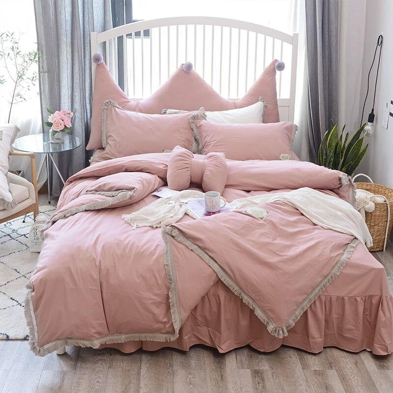 100 Cotton Pink White Bedsheet Set Twin Queen size Bedding Set for Kids Girls Bedroom Duvet