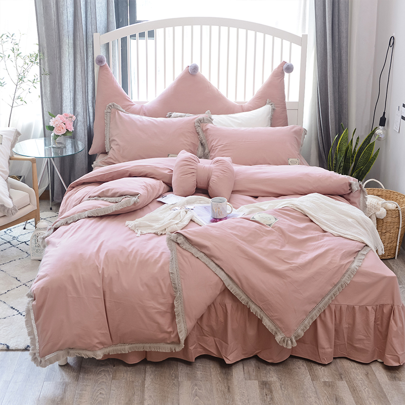 100%Cotton Pink White Bedsheet Set Twin Queen Size Bedding Set For Kids Girls Bedroom Duvet Cover Bed Sheet Set Bed Cover