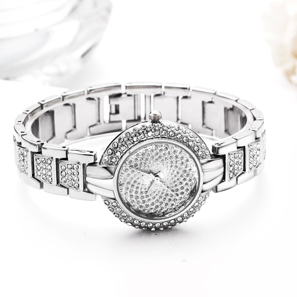 Full Crystals Luxury Ladies Watch for Women 3 Hands Stones Dial Alloy Round Case Bracelet Christmas Gift free drop shipping 3
