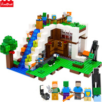 Model Building Blocks Kits Compatible Legoings Minecrafted The Waterfall Base 21134 Building Construction Toys