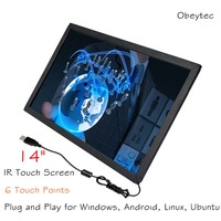 Obeytec 14 IR touch Screen Frame,16:9 Wide Panel, Anti Vandal , Anti dust, Anti sunshine, 6 touches, Driver free for different