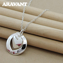 New Fashion 925 Silver Jewelry Round Heart Necklace Silver Color Pendant Necklace Women Valentine Jewelry new fashion silver color jewelry high quality fashion 925 silver jewelry heart pendant necklaces