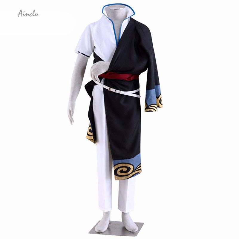 Ainclu Free Shipping New Gintama Sakata Gintoki Cosplay Costume For Halloween Men Costume