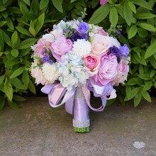 Шелковые свадебные цветы, букет из цветов для подружки невесты, букеты из роз, Гортензия, свадебный букет на запястье, 7