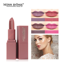 Miss Rose Brand 12 Colors Matte Lipstick Waterproof long lasting Moisturizer lip stick Matte Beauty lips Makeup miss rose matte lipstick waterproof nutritious easy to wear lipstick long lasting lips makeup