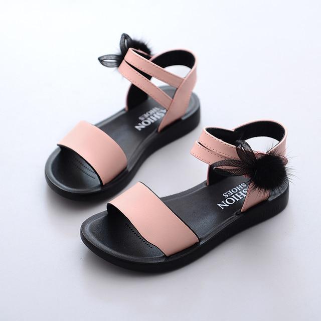 Girl sandals Butterfly Knotted Shoes 2019New Summer Non-slip Girls'Non-skid Children's Beach Sandals Children's Sandals Princess