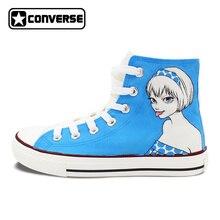 Пользовательские Ручная роспись обувь мультфильм девушка просто мой Тип Converse All Star высокие холщовые кроссовки подарки на день рождения Для мужчин Для женщин