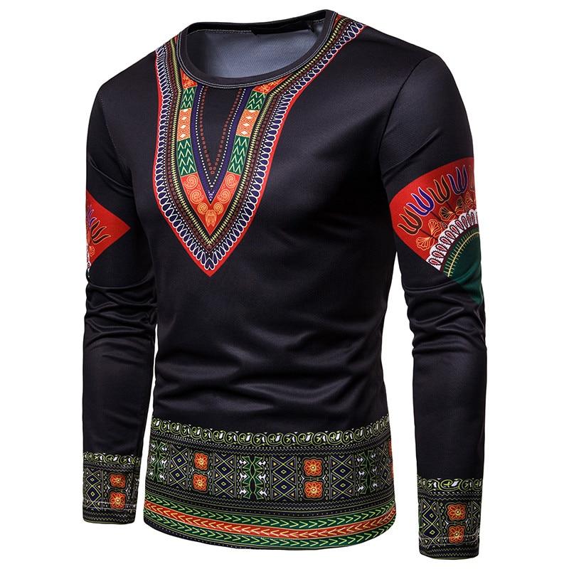T shirt 2018 Men's Casual African Print O-Neck Pullover Long Sleeved T-shirt Top women t-shirt Dropshipping For Free Shipping (7)