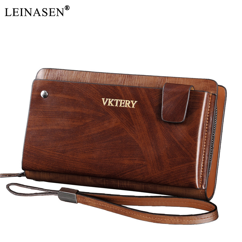 2018 New Fashion Luxury Male Genuine Leather Long Purse Men's Clutch Wallets Handy Bags Business Wallets Men Brown Dollar Price 2016 famous brand new men business brown black clutch wallets bags male real leather high capacity long wallet purses handy bags