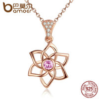 BAMOER High Quality 100 925 Sterling Silver Carnations Pink Flower Necklaces Pendants Wedding Fine Jewelry SCN038