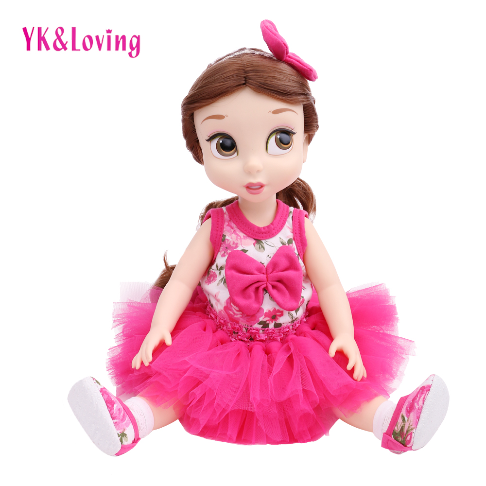 Free Shipping Doll Clothes 4pcs/set 1Top+1Skirt+1Shoes+1Headband For American Girl Fashion Handmade Suit For 40cm 2017 Baby Born free shipping winter girl stripe cute doll skirt cotton quilted jacket