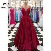 Sexy 2018 Burgundy Evening Dresses Long V Neck Satin Spaghetti Straps Prom dress for teens Formal Evening Dress for Women