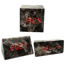 LED Digital Display Alarm Clock Black Marble Timer Voice Control Dual Power Supply