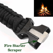 Paracord Rescue Rope Escape Bracelet 4 in 1 Flint Fire Starter Whistle Outdoor Camping Survival Gear Buckle Travel Kit Equipment