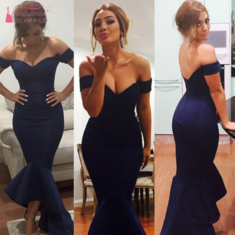 Black   Prom     Dresses   Mermaid Off-Shoulder V Neck Hi-Lo Short Front Long Back Party Gowns For Wedding Guest Elegant   Dress   DQG686