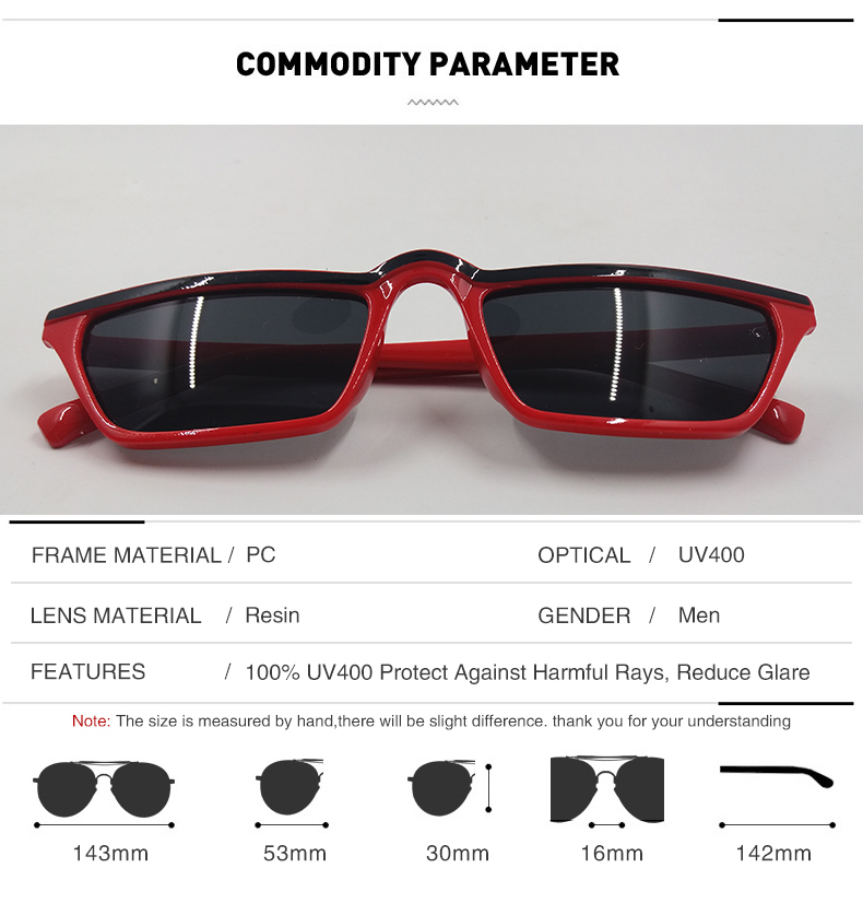 e7bba5a1ab3 Trend Red Black Flat Top sunglasses Women Men Brand Designer Plastic Frame  One-piece Shade Glasses Fashion Decoration Goggle 003