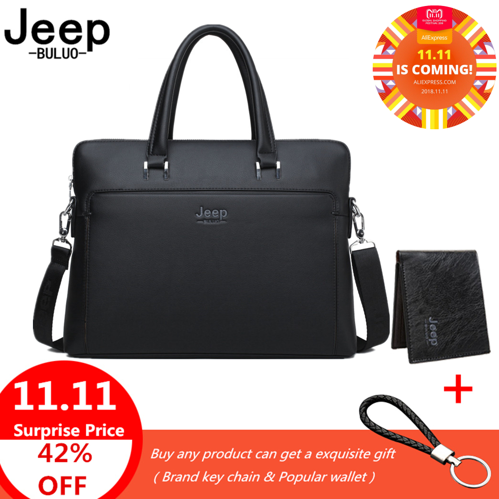 все цены на Jeep Brand Men Briefcases Office Bags Leather Handbag For 14 inch Laptop bags Man Business Travel Briefcase Tote Bag A4 Files