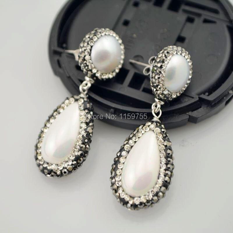 Charm 4Pair Nature Pearl Tear Drop Dangle Earrings with Crystal Rhinestone Paved Stud Pearl Earring Jewelry