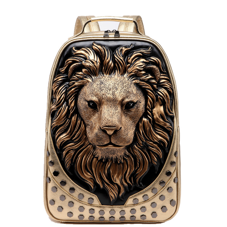 3D Embossed Lion Head Studded Rivet Gother Men Backpack Women Leather Soft Travel punk rock Backpack Laptop School Halloween Bag in Backpacks from Luggage Bags