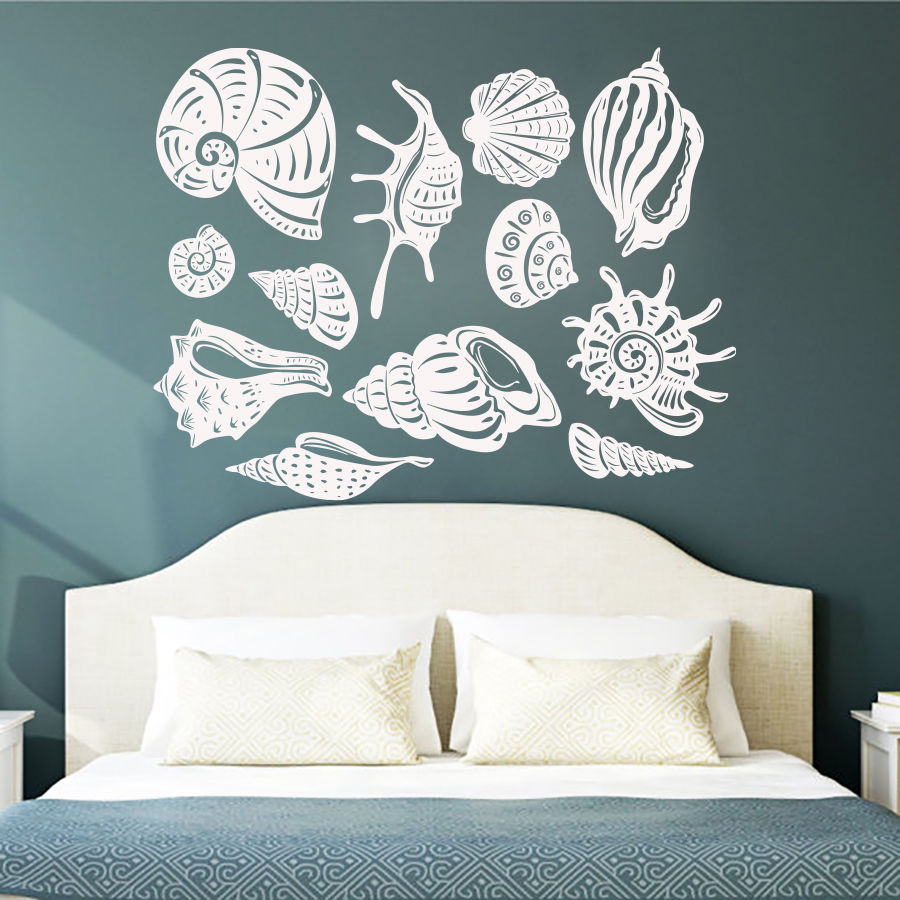 Wall Decals Bathroom Sea Pattern  Wall Sticker Baby Kids Room Beach Elemebt Wallpaper Removable Vinyl Sea  Mural AY985