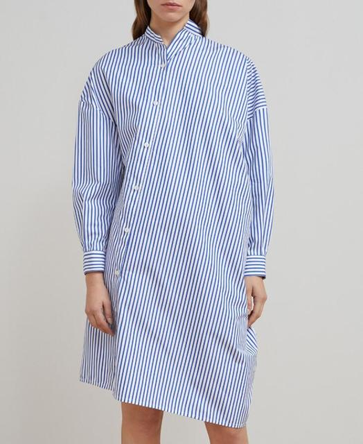 49af660d WISHBOP sky blue Noma crisp striped cotton poplin shirt dress stand up  collar Long Sleeve classic cuffs Asymmetric Button Down