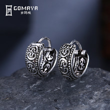 GOMAYA 925 Sterling Silver Punk Round Vintage Hoop Earrings for Women Gift Antique Fine Jewelry Retro Silver Color Accessories