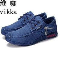 2017 New Fashion Canvas Shoes For Men Low Style Comfortable Denim Mens Shoes Lace Up