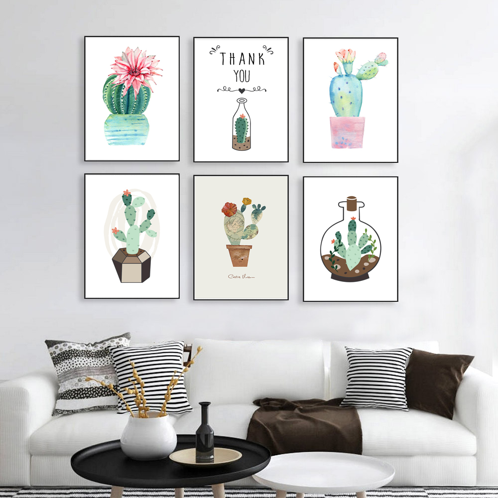 Nordic Watercolor Cactus Canvas Painting Minimalism Art Print Poster Plants And Flowers Wall Picture For Office Home Decor