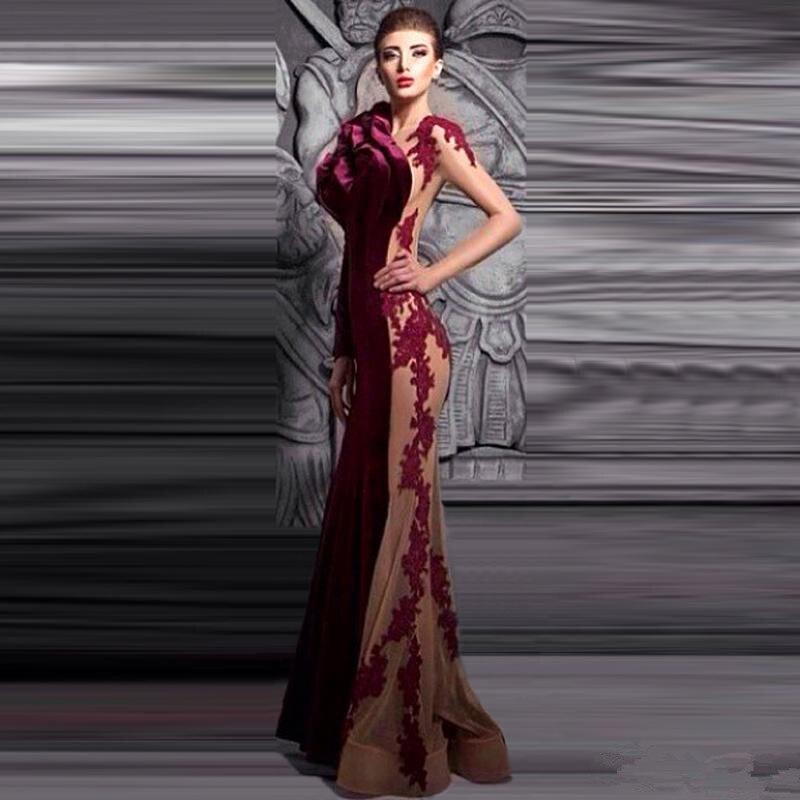 Hot 2019 magnifique longue Robe de soirée O décolleté dentelle Appliques velours vin rouge sirène robes de bal fleur Robe de soirée