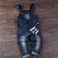 Moda Primavera Outono Inverno Bebés Meninos Meninas Engrossar Calças Crianças Denim Macacão Jeans de Algodão Macio Calças Compridas Para 1-6 T Crianças