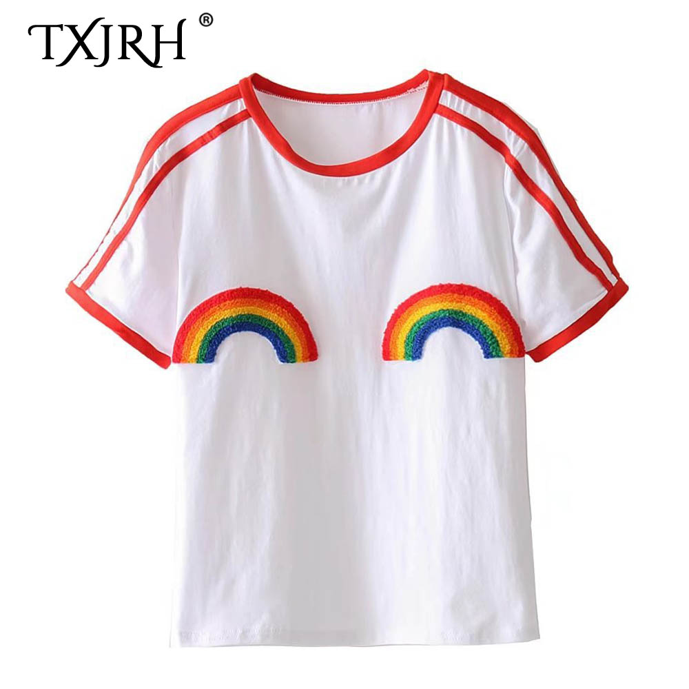 TXJRH Trendy Rainbow Print Towel Contrast Color Short Sleeve White Tee 2018 Stylish Women O-Neck Pullover T-Shirt New Base Tops