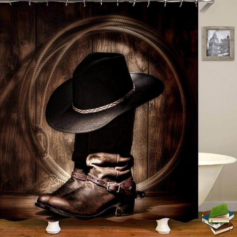 3D Western Country Cowboy Boots Print Waterproof Mildew Proof Bath Shower Curtain Polyester Fabric Bathroom Curtain with Hooks