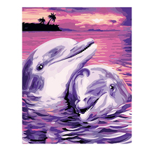 RIHE Dolphin Diy Painting By Numbers Sunset Ocean Oil On Canvas Hand Painted Cuadros Decoracion Acrylic Paint Home Art
