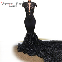 Sexy African Black Mermaid Evening Dresses 2018 Robe de Soiree Lace Beaded Long Party Formal Occasion Evening Gowns